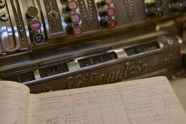 Fitterer's original cash register and ledger