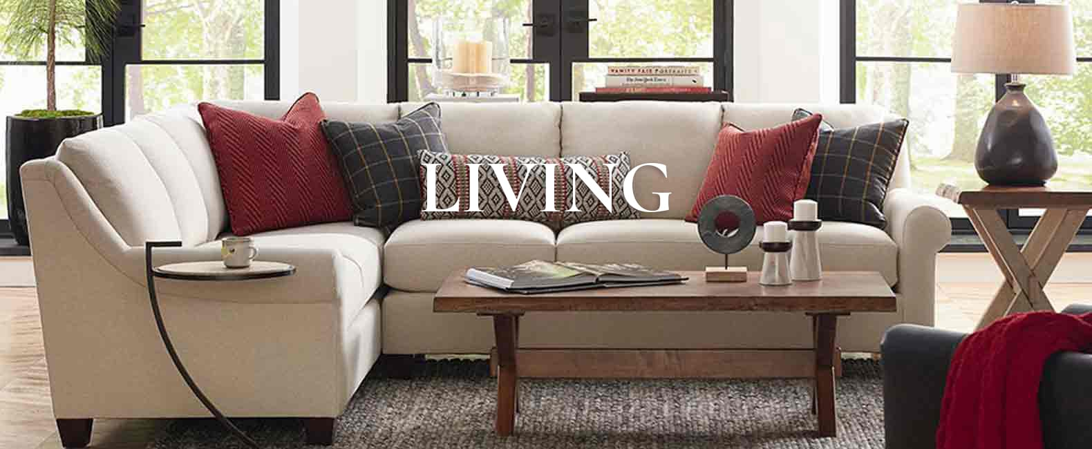 sectional sofa with coffee table in living room