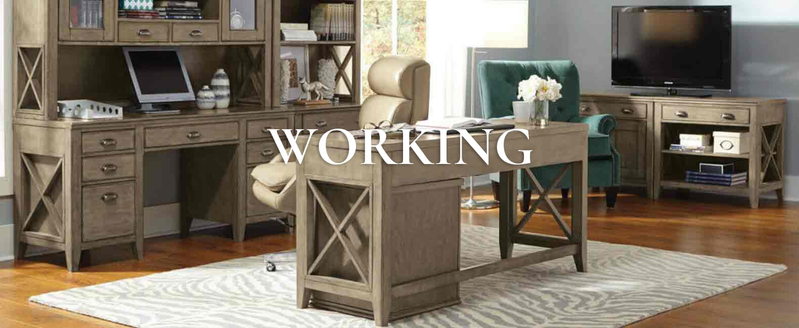 wooden desk and office chairs in home office